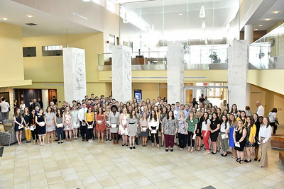 WVU School of Pharmacy students take part in the School of Pharmacy Scholarships Awards Convocation at the HSC Okey Patterson Auditorium April 12, 2019. Photo Greg Ellis
