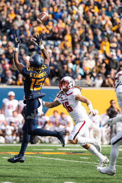 Wide receiver George Campbell prepares himself for a long-distance catch. WVU Football challenged Texas Tech at Milan Puskar Stadium on November 9, 2019. The football game also hosted the announcement of the Most Loyal awards and the Mr. and Ms. Mountaineer awards at halftime. (WVU Photo/Hunter Tankersley)