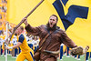 WVU Mountaineer, Timmy Eads, rushes the field at the beginning of the game. WVU Football competed against NC State at Milan Puskar Stadium on September 14, 2019. (WVU Photo/Hunter Tankersley)