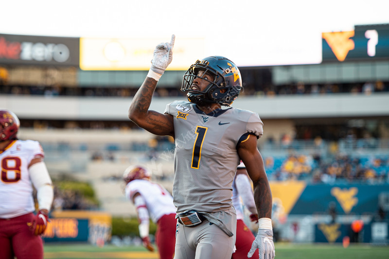 TJ Simmons celebrates after a touch down. The Mountaineer Football Team hosted Iowa State on October 12, 2019 at Mountaineer Field. (WVU Photo/Parker Sheppard)