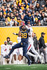 Wide receiver Isaiah Esdale competes for a chance to catch the ball. WVU Football challenged Texas Tech at Milan Puskar Stadium on November 9, 2019. The football game also hosted the announcement of the Most Loyal awards and the Mr. and Ms. Mountaineer awards at halftime. (WVU Photo/Hunter Tankersley)