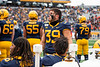 Dante Bonamico looks up toward the big screen. The Mountaineer Football team faced off against OSU at Mountaineer Field November 24, 2019. (WVU Photo/Parker Sheppard)