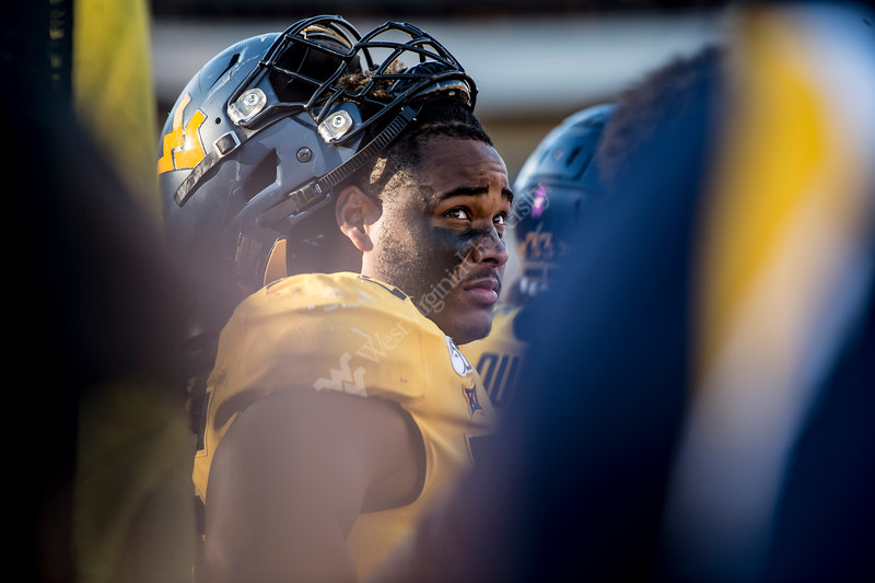 Darius Stills watches the game from the sideline. WVU Football faced off against Texas at Mountaineer Field October 5, 2019. (WVU Photo/Parker Sheppard)
