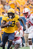 Sam James, wide receiver, runs for the victory. WVU Football competed against NC State at Milan Puskar Stadium on September 14, 2019. (WVU Photo/Hunter Tankersley)