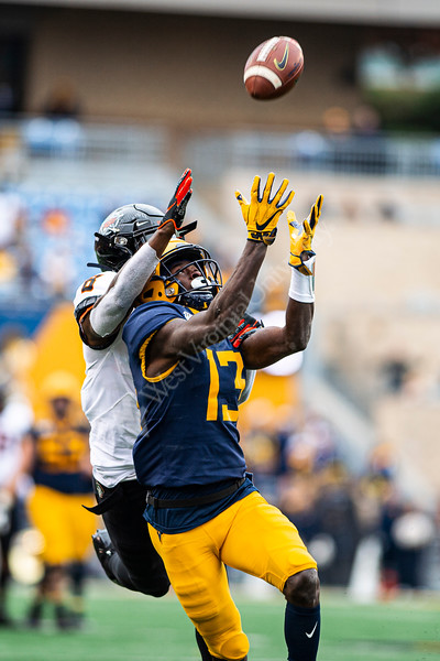 Sam James reaches for a catch. The Mountaineer Football team faced off against OSU at Mountaineer Field November 24, 2019. (WVU Photo/Parker Sheppard)