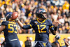 Quarterback Austin Kendall searches for an open teammate. WVU Football challenged Texas Tech at Milan Puskar Stadium on November 9, 2019. The football game also hosted the announcement of the Most Loyal awards and the Mr. and Ms. Mountaineer awards at halftime. (WVU Photo/Hunter Tankersley)