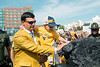 Neal Brown and son place their hands on the coal as they enter Mountaineer Field. WVU Football faced off against Texas at Mountaineer Field October 5, 2019. (WVU Photo/Parker Sheppard)