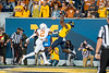 Bryce Wheaton catches a touchdown pass. WVU Football faced off against Texas at Mountaineer Field October 5, 2019. (WVU Photo/Parker Sheppard)