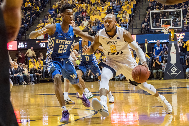 WVU Mountaineer men's basketball  action vs the  Kentucky Wildcats.  Kentucky rallied  from a 17 point deficit winning 83-76 January 27, 2018. Photo Greg Ellis