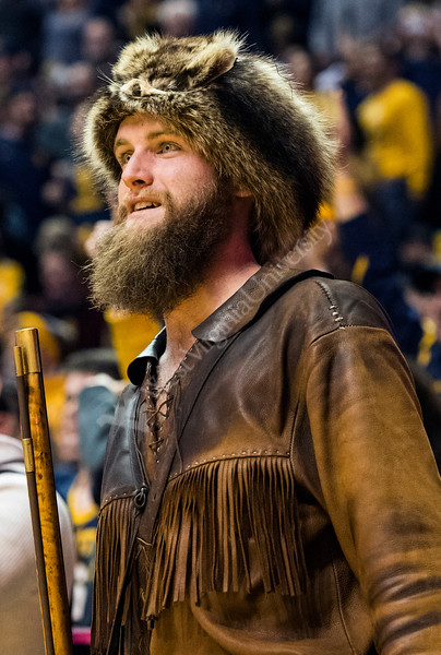 WVU Mountaineer mascot Troy Clemons looks on during WVU Men's basketball action. WVU Mountaineers defeated the Baylor Bears 57-54, January 9, 2018. Photo Greg Ellis
