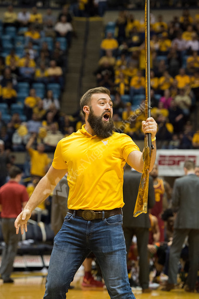 Trevor Kiess is announced as the new Mountaineer Mascot on February 24, 2018 at a game against Iowa State.