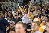 Fan cheering during WVU's first game of the NCAA Regional on May 31, 2019 at Monongalia County Ballpark. Photo Parker Sheppard