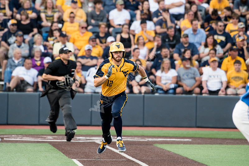 TJ Lake running to first base in WVU's second game of the NCAA Regional on June 1, 2019 at Monongalia County Ballpark. Photo Parker Sheppard