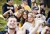 Fans pose for a picture during WVU's first game of the NCAA Regional on May 31, 2019 at Monongalia County Ballpark. Photo Parker Sheppard
