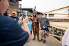 Fans get a picure with the Mountaineer Mascot before the first game of the NCAA Regional on May 31, 2019 at Monongalia County Ballpark. Photo Parker Sheppard