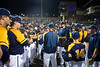 WVU Baseball Coach, Randy Mazey, talks to the team after their victory over Fordham in the team's first game of the NCAA Regional on May 31, 2019 at Monongalia County Ballpark.