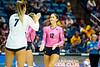 Alexa Hasting gives Gabriella Cuckovich a high five. WVU Volleyball took on Texas Tech in the Coliseum November 16, 2019. (WVU Photo/Parker Sheppard)