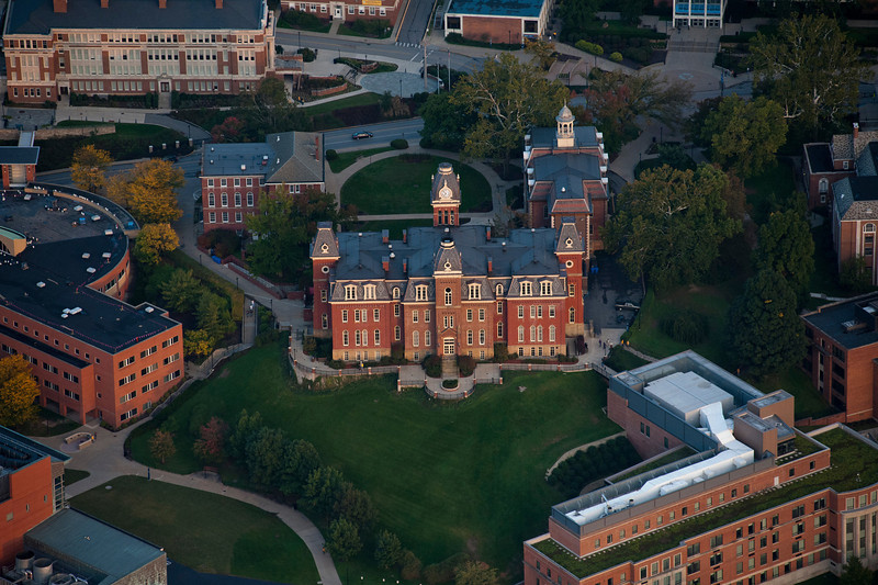 """To purchase - <a href=""""http://dan-friend.artistwebsites.com/galleries.html"""">http://dan-friend.artistwebsites.com/galleries.html</a><br /> <br /> Woodburn Hall: Woodburn Hall was built between 1874 and 1876, and is a brick Second Empire style building. It has a mansard roof topped by a cupola and clock tower. Wings designed by Elmer F. Jacobs were completed in 1900 and 1911. Its name references Woodburn Female Seminary, a school originally located on the West Virginia University campus."""