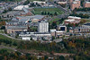 Aerials of engineering buildings from over river