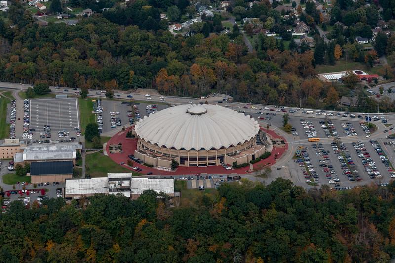 Aerial of WVU coliseum