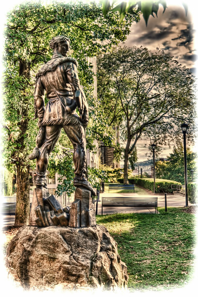 """To purchase - <a href=""""http://bit.ly/X9K9eV"""">http://bit.ly/X9K9eV</a><br /> <br /> Mountaineer statue in front of the Mountainlair is modeled after NBA legend and WVU graduate Jerry West by sculpture artist Donald DeLue"""