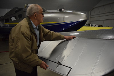 95-year-old Royal Oak resident Ronald Bade meets with local pilots at Royal Air, 6260 N. Service Drive, Waterford Twp., Mich., 48327, on Tuesday, Feb. 21, 2017. Bade flew 122 missions over Europe as a pilot stationed in Italy during World War II. He shared his military experiences and photos with several pilots during the afternoon visit. Watch for story in Sunday's Oakland Press. (Mark Cavitt/The Oakland Press)