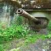 Old abandoned military pillbox with a tank cannon.