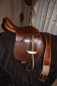 "Like new gorgeous 16"" bridle leather close contact saddle by the famous English saddler Whippy. Includes matching 46"" anti-chafe girth, doeskin lined, double stitched leathers (the billets are also doeskin lined) and stirrups. $500  There isn't a mark on this saddle!"