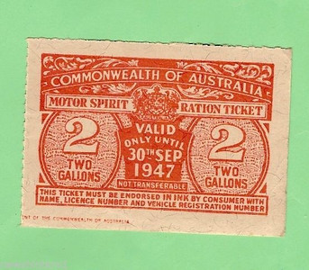 WW2 ration coupons in Australia and elsewhere