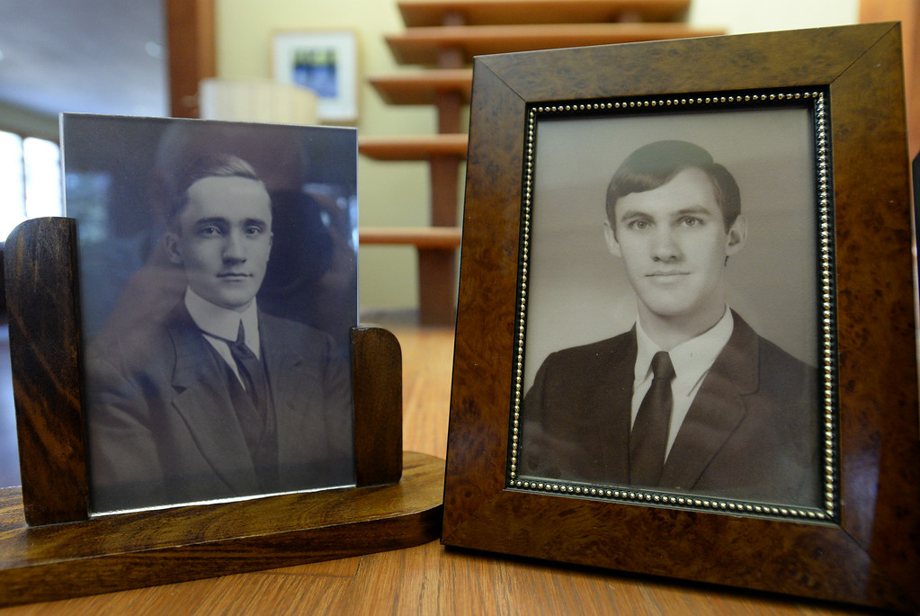 . BOULDER, CO - November 9, 2018:  A photo of  Walter Young, right, while he was in college, with a photo of his grandfather, Bradford Hathaway, at about the same age.  (Photo by Cliff Grassmick/Staff Photographer)