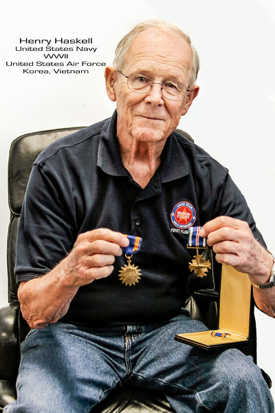 "Henry Haskell who also served in the US Navy during WWII, holds the ""Distinguished Flying Cross"" medal he was awarded while serving in the Air Force during the Korean War and Vietnam conflict. During the Korean war he would serve as a tail gunner on the B36 bomber.  Through his entire Air Force career he completed over 100 combat missions. During the Korean War, Henry met his wife Martha, who was also serving in the Air Force. Henry is also in the US Navy gallery."