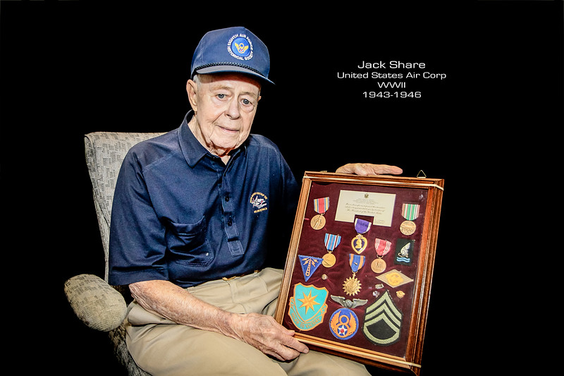 "At the young age of 22, Jack Share served as a radio operator and waist gunner on a B17 bomber. A shell hit Share's plane right underneath his legs on their 15th mission, causing the pilot to ditch the plane in the ocean, where severely injured Share and the remaining crew that survived spent five hours in the icy cold stormy water before being rescued. After being operated on by a British Major, losing one leg at the knee, with the other leg broken and foot damaged, Jack would spend a year in the hospital recovering and learning to walk again. When asked about his injuries he said ""I was lucky I survived"""