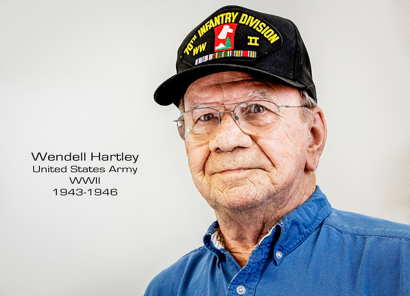 WWII veteran Wendell Hartley served in the 70th Infantry Division in the 274th regiment under General Patch. Hartley's division experienced 58% casualties. Wendell himself endured 102 days on the front line.