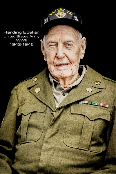 Harding Boeker entered the Army in 1942, and served overseas as a quartermaster in the 231st Quartermaster Company under the 9th Army until 1946