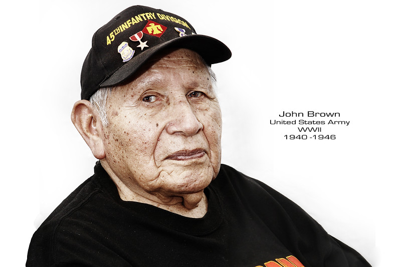 "Choctaw, John Brown joined the Army National Guard at the age of 15 serving in the 45th Infantry <br /> Amphibious Division (the Thunderbirds), 157th Infantry, under  General George S. Patton's 7th Army.  <br /> Also served under General Mark W. Clarks in the 5th Army. Of the 45th Division General Patton stated <br /> ""Your division is one of the best, if not the best division in the history of American arms."" On April 29, 1945, John along with the rest of the 45th Infantry would liberate Dachau concentration camp."