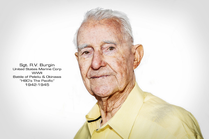 "It would take R.V. Burgin, who joined the Marine Corp in 1942, thirty years to speak about his experiences during WWII. He would serve in the 5th Marines, 1st Marine Division and would make his way through the Pacific fighting in some of the bloodiest battles of the war; Cape Gloucester, Peleliu, and Okinawa. He would be awarded the Bronze Star for his actions during the Battle of Okinawa, and a Purple Heart for sustaining wounds. Submission for being awarded the Silver Star for his actions on Peleliu, had been planned but Captain Haldane was killed before he was able to submit the paperwork. RV authored the book ""Islands of the Damned"" a memoir of his combat experiences and is portrayed in HBO miniseries, ""The Pacific""."