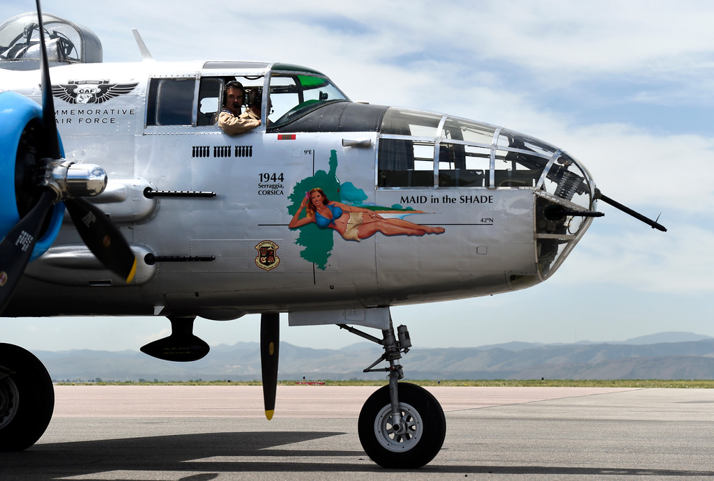 . A WWII era B-25J Bomber prepares to take people for a ride in the aircraft on Friday at the Rocky Mountain Metropolitan Airport in Broomfield. For more photos of the airplane go to dailycamera.com Jeremy Papasso/ Staff Photographer 06/08/2018