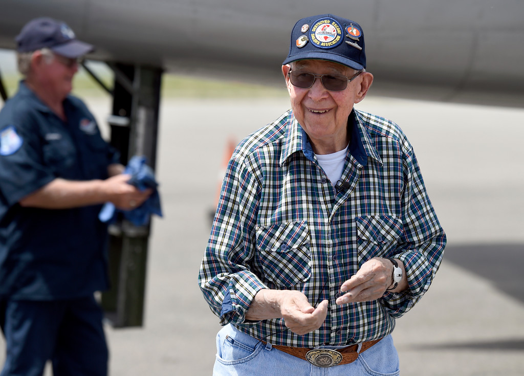 . WWII Navy veteran Bob Seeber smiles after taking a ride in a WWII era B-25J Bomber on Friday at the Rocky Mountain Metropolitan Airport in Broomfield. For more photos of the airplane go to dailycamera.com Jeremy Papasso/ Staff Photographer 06/08/2018