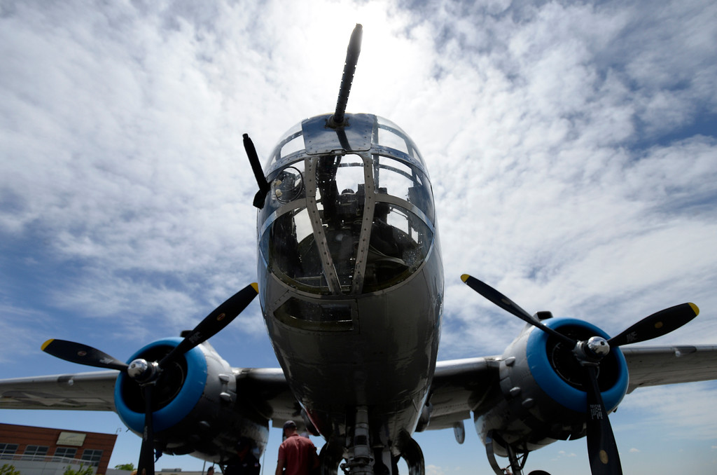 . A WWII era B-25J Bomber after going for a ride in the aircraft on Friday at the Rocky Mountain Metropolitan Airport in Broomfield. For more photos of the airplane go to dailycamera.com Jeremy Papasso/ Staff Photographer 06/08/2018