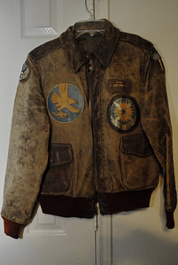 Les' leather flying jacket, still in good shape.