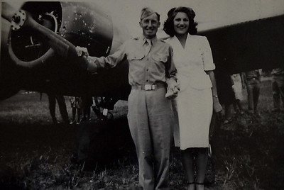 Les with his fiance, Dorothy, on graduation day from flight school and getting his wings