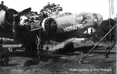 """Photo of the B-17 """"HOTNUTS"""" which carried Lt Vernon and his crew into combat for 30 missions   He said that the maintenance crew named the plane because they would stay longer and the plane would be passed on to another crew.  He and his crew had made plans to complete their 30 mission and they were planning to rotate back to the US which they did in May 1944.  The plane was eventually flown back in 1945 and mothballed in Arizona."""