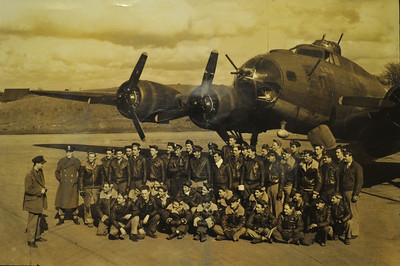 544th Squadron, 384th B.G. This photo was taken shortly after the Berlin mission.  Their squadron commander is standing addressing the flight crews. See next photo.