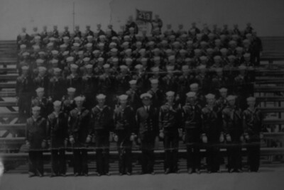 Dan Rust's Navy Boot Camp photo 1943, San Diego, California Dan couldn't remember where he was standing in the photograph, but remember it was 67 years ago!