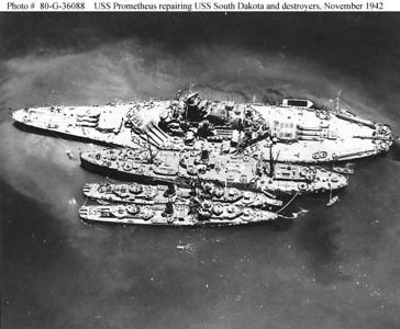 USS South Dakota (battleship), USS Prometheus alongside with two destroyers, Photo USN