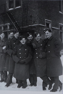 "F/O Wilde (far right) with his fellow ""Blue Nose"" airmen"