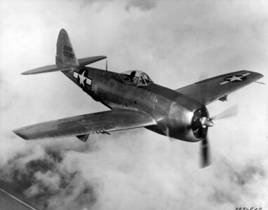 Republic P-47N Thunderbolt, Thunderbolt flew its first combat  mission--a sweep over Western Europe. Used as both a high-altitude escort fighter and a  low-level fighter-bomber, the P-47 quickly gained a reputation for ruggedness. Its sturdy  construction and air-cooled radial engine enabled the Thunderbolt to absorb severe battle  damage and keep flying.  Clyde's first combat aircraft, Ie Shima, Japan
