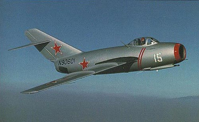 Mig-15 similar to the one Clyde shot down over the Yalu River, North Korea