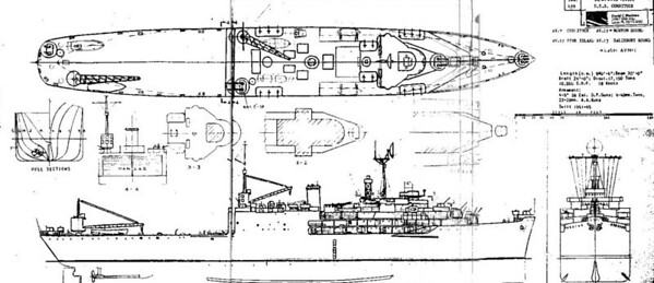 Blueprint of the USS Tangiers