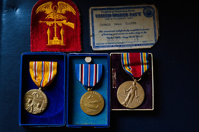 Tarver's medals and unit patch from WW2